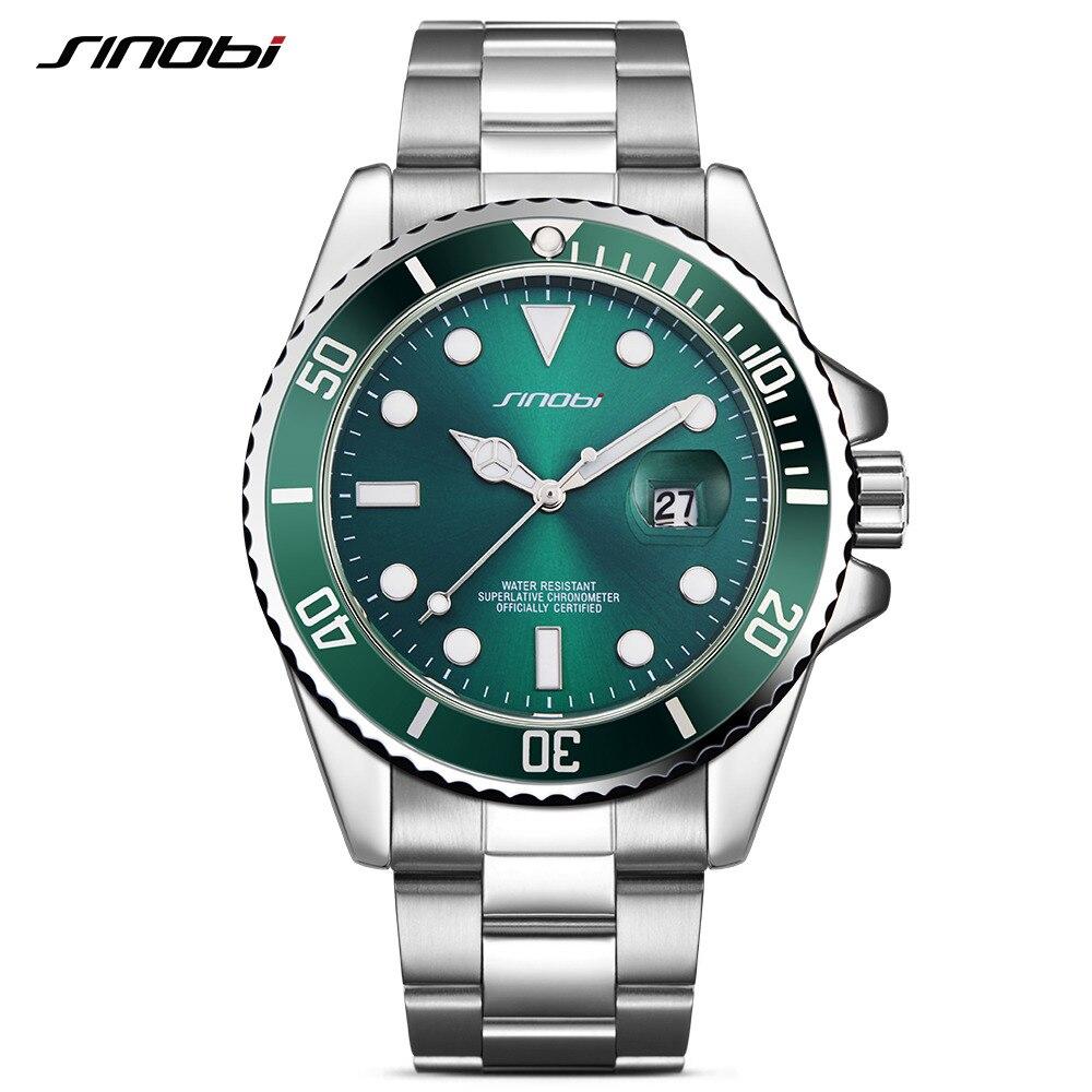 SINOBI Mens Watches Top Brand Luxury Stainless Steel Band Man GMT Rotatable Bezel Sport Quartz Wrist Watch Relogio Masculino L92<br>