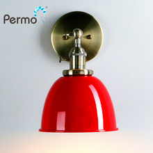 PERMO Retro Antique Bronze Wall Lamps Modern Brass Metal Sconce Wall Light Fixtures New Year Christmas Decorations For Home(China)