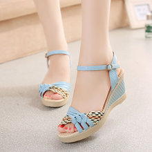 [H]women's wedges sandals platform shoes platform straw braid color block high-heeled shoes .XL-Q-M2