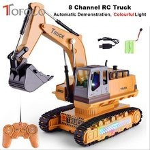 TOFOCO New Light 8 Channel Charging Rc Truck Vehicle 2.4G Remote Control Engineer Truck Toys For Children's Electric Excavator(China)