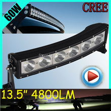 Free UPS ship!1pcs/set,13.5inch 60W 4800LM Curved,10~30V,6500K,LED working bar,Boat,Bridge,Truck,SUV Offroad car,black,180W