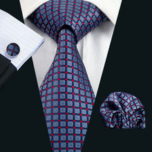 LS-958 Hot Sell Men Tie Blue Novelty 100% Silk Gravata Jacquard Woven Tie Hanky Cufflink Set For Men Formal Wedding Party(China)