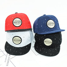 Kids Cap Round WESTERN Letters Embroidered Baseball Caps Hip Hop Starry Snapback Hats for Boys Girls Child Summer Cap(China)