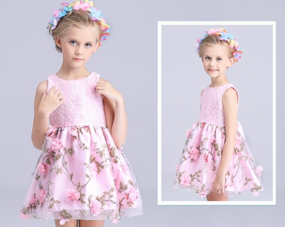 3-12Y new 2017 summer Korea girls three dimensional flower princess dress girls party dress baby girl summer vest dress<br><br>Aliexpress