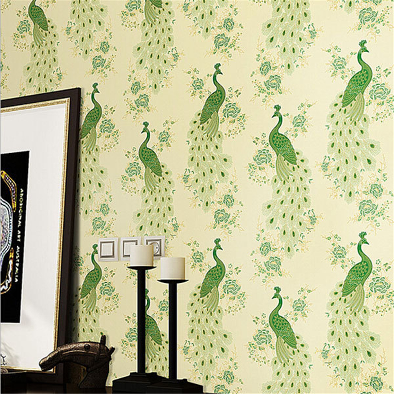 beibehang papel mural Luxury Peacock Embroidery Wallpaper roll Floral Birds Wall Paper 3D Papel de Parede Eco wall paper roll<br>