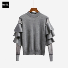 2017 New Autumn Runway Designer Women Sweater Pullover Tops Ruffle Mesh Sheer Knitted Patchwork Basic Knitted Sweaters Pullovers