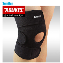 1pc Adjustable Sports Training Elastic Knee Support Brace Kneepad Breathable Patella Knee Pads Hole Guard Strap Black Z14701