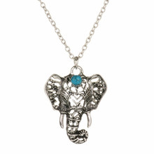 New Fashion Mascot Elephant Necklace Imitation Thai Silver Pendant Necklace Collier Bohemian Necklace