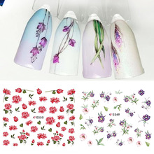 SWEET TREND 1 Sheet Flowers Nail Art Stickers Ultra thin 3D Nail Sticker Floral Flower Nail Decals Blooming Decor LAE549-555