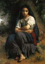 Handmade Oil painting reproduction The Little Knitter by William Bouguereau(China)