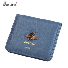 Fashion Lady Zipper Wallet Leather Thin Short Wallets Women Small bee metal Purse Female Mini Retro Purses 2 fold(China)