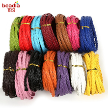Super Value Flat Braided PU Leather Cord Rope String 7mm wide For Wedding Table Chair Decoration Wrapping Gift 5m/lot