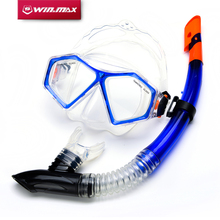WINMAX 2 Color Blue and Red Swimming Anti-Fog Goggles Diving Mask and Semi Dry Snorkel Kit Dive Set(China)