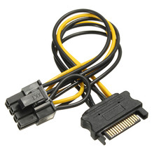 5pcs PC Computer Power Connector Cable PCI-E SATA 15 Pin to 8-pin PCI-E Socket HDD Power Adaptor Cable Lead Hard Drive Card