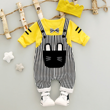 Boys Clothes New Autumn 0-3y 2017 Fashion Style Cotton O-Neck full Sleeve Strip Overalls Baby Boy Clothing Set A261(China)