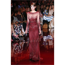 Shining Shining Long Sleeve Beading Red Zuhair Murad Evening Dresses Dress Party Gown Elegant Red 2016 robe de soiree longue