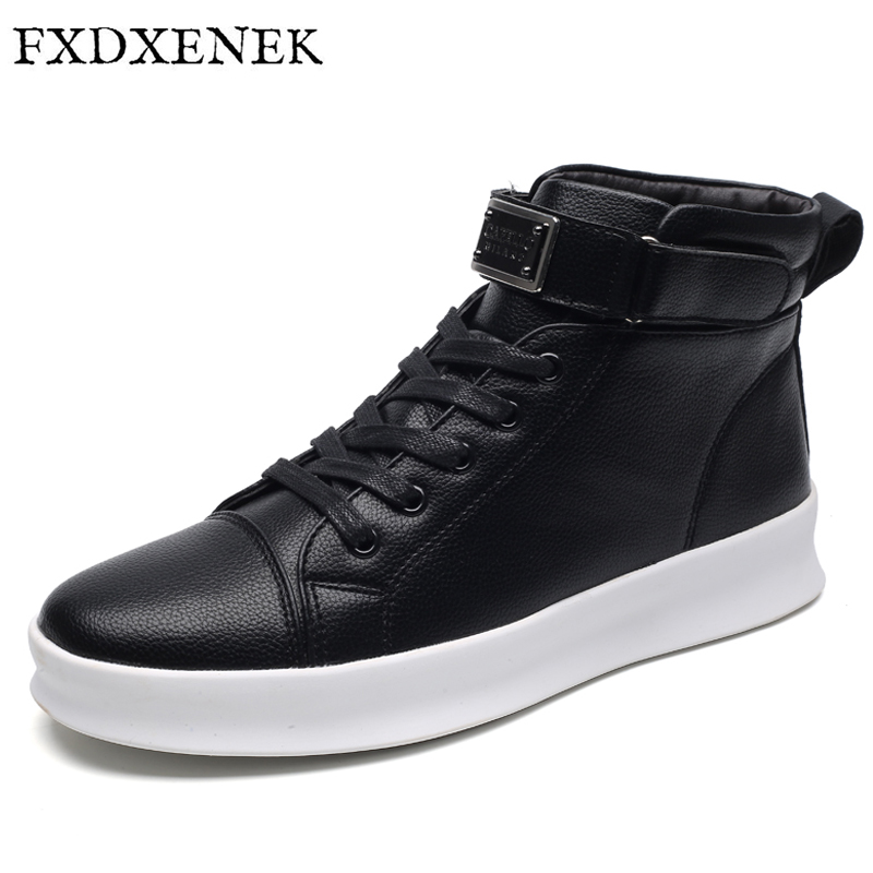 ZENVBNV Autumn/Winter New Handmade Leather Men Shoes Fashion Design Lace Up High Top Men Casual Shoes Hook&amp;Loop Flats Shoes Men<br>