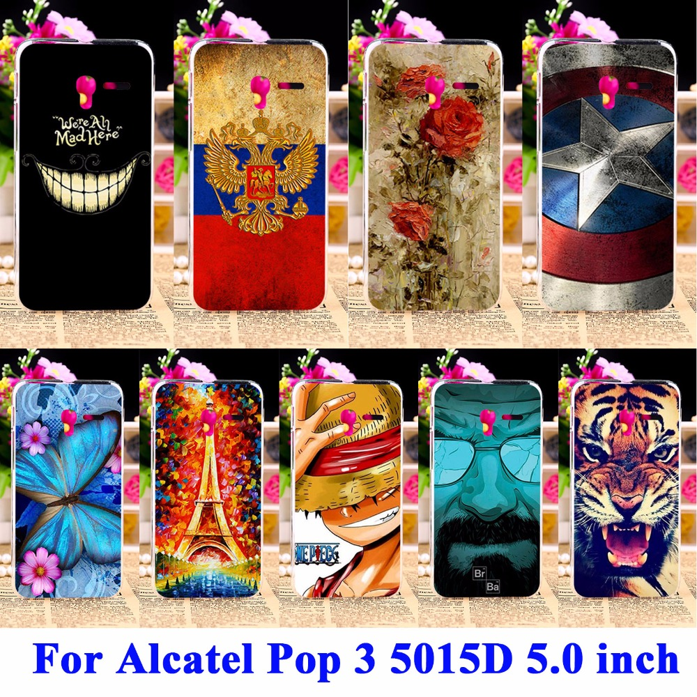 Panda Tiger Cat Painted Phone Cases Covers For Alcatel OneTouch Pop 3 5015D 5.0 inch 3G Version Cover 5015 5016A Housing Shell(China (Mainland))