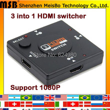 TOP Speed Manual button switch 3 into 1 HDMI splitter 1080p 3 ports 3D HDMI switch for PS3 STB HDTV Tablet PC