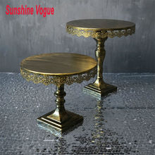 Vintage gold cake stands iron metal cupcake display stand wedding decoration for dinnerware/party 10''/12'' baking tool