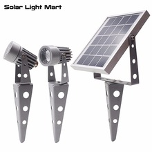 Mini 50X Updated All Metal Twin Solar Powered LED Outdoor Landscape garden decoration Spotlight Waterproof 5m Cable garden lamp(China)