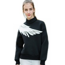 Space cotton long black hoodies womens angel wings hoody causal turtleneck hoodie women new arrival 2017 hoodies for women