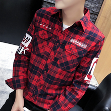 High quality Fashion Men Shirt non-iron long sleeve brushed plaid shirt men Korean Slim fit with letter male brand blouse men