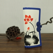 Chinese Art Ink Painted Lotus Flower Women Canvas Clutch Wallets Ladies Casual Linen Cotton Vertical Purse Notecase Money Bag