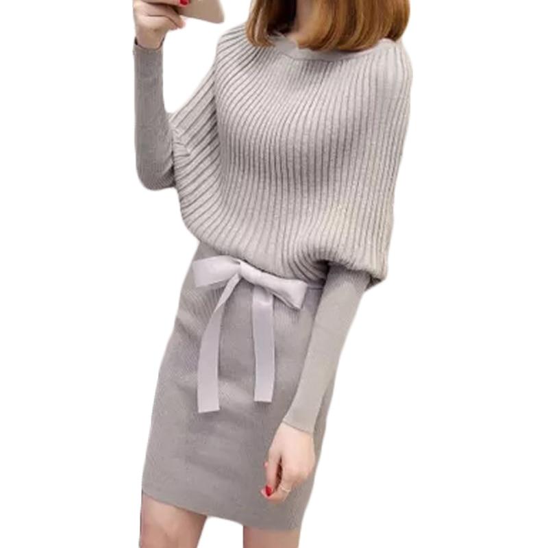Vestidos Knitting 2017 Women Mini Dresses Slash Neck Knitted Dress Long Sleeve Bodycon Sheath Package Hip Dress With Belt XH624Îäåæäà è àêñåññóàðû<br><br>