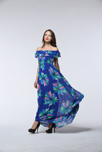 Vestido Hot Sale Bohemian Fit And Flare Maxi Dress Robe 2016 New Summer Holiday Couture Size Chiffon Dress Printed Sleeveless