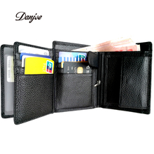 DANJUE Men Wallets RFID Blocking Trifold Genuine Leather Coin Purse Cowhide Business Luxury Brand Male Card Holder Bag