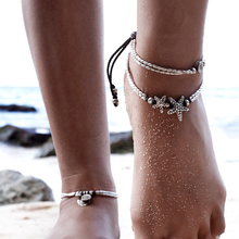 2017 New Fashion Retro Bohemia Round Rune Starfish Anklet Beach Feet Jewelry Simple Pull Beads Bobo Anklet Bracelet For Women(China)
