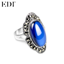 EDI 925 Sterling Silver & Marcasite Jewelry Blue Sapphire Wedding Rings for Women Natural Gemstones Antique Thai Silver Rings