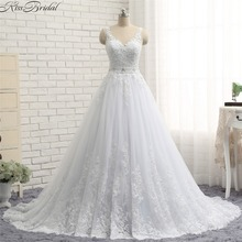 Romantic Backless Wedding Dresses Summer Style V-Neck Beach Wedding Gowns Lace vestido casamento
