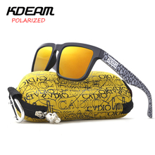KDEAM 2017 new Square Sunglasses Men Polarized Sun Glasses Women Sport HD Red lens UV400 With Hard Case KD901P-C13(China)