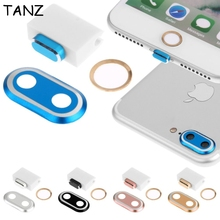For iPhone 7 4.7 For iPhone 7 Plus 5.5 3 In 1 Metal Rear Camera Lens Protector Cover Case + Home Button Sticker Ring + Dust Plug