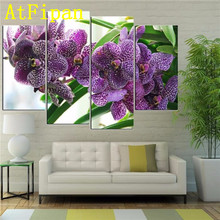 AtFipan Modular Wall Paintings 4Pcs Purple Orchid Flowers Cuadros Decoracion Modern Painting on Canvas Pictures For Living Room(China)
