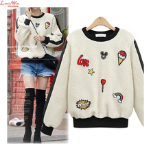 Cute Casual Embroidered Character Lamb Wool Hoodies Women Brand Popular Thick Wool Pullovers Jumper