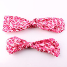 2Pcs/Set Mother & Mini Headband Girl Print Floral Flower Bow Knot Tie Hairband Headwrap Rabbit Ears Elastic Headdress(China)