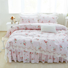 12 Colors 100% Cotton Lace edge Girls Bedding set Floral Print King Queen Twin size Bed skirt set Pillow shams(China)