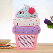 For Iphone 7 6 6s Plus 5 5s 4 4s Case 3D Cute Cartoon Cherry Cupcakes Ice Cream Shaped Silicon Phone Cases Cover Fundas Capa