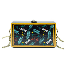 Unique hand drawn wooden Day Clutch Women party Bags Chain shouder bag Party Purses Leaves dragonfly pattern bolsas mujer ST134(China)