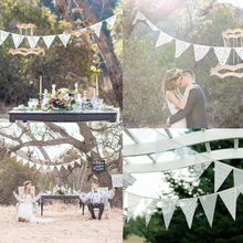 2017 12 Flags White Lace Flag Wedding Banner Pennant Wedding/Birthday Party Decor  Flags Wedding  Accessories Party Supplies