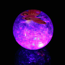 1pcs/2017 flash bouncing ball 6.5CM ribbon crystal luminous elastic ball, butterfly elastic ball children gift