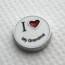 Hot selling 50pcs/lot I love my grandma floating charms living glass memory floating lockets for diy jewelry