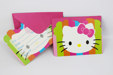 Wholesale Kid Boy Girl Hello Kitty Happy Birthday Party Decoration Kids Supplies Favors Invitation Cards 12pcs/lot