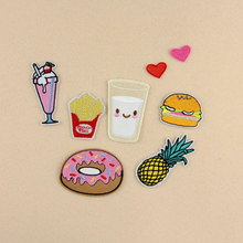 Hamburger Embroidered Patches Pineapple Heart Accessory Hand Sewing Iron On Patch DIY Hotfix Motif Clothes Badge Jeans Hat Decor