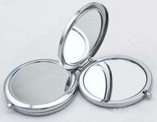 100Pcs Circle Blank Compact Mirror Silver Makeup Mirror -Fedex & DHL & EMS Free Shipping(China)