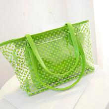 2017 promotion low price Fashion Women Jelly Candy Clear Transparent Handbag Tote Shoulder Bags Beach Bag Popular(China)