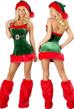 New Arrival Hot Selling 2016 Sexy Sleeveless Adult Christmas 3pcs Santa Envy Christmas Costume LC7251 New Year Funny Clothes